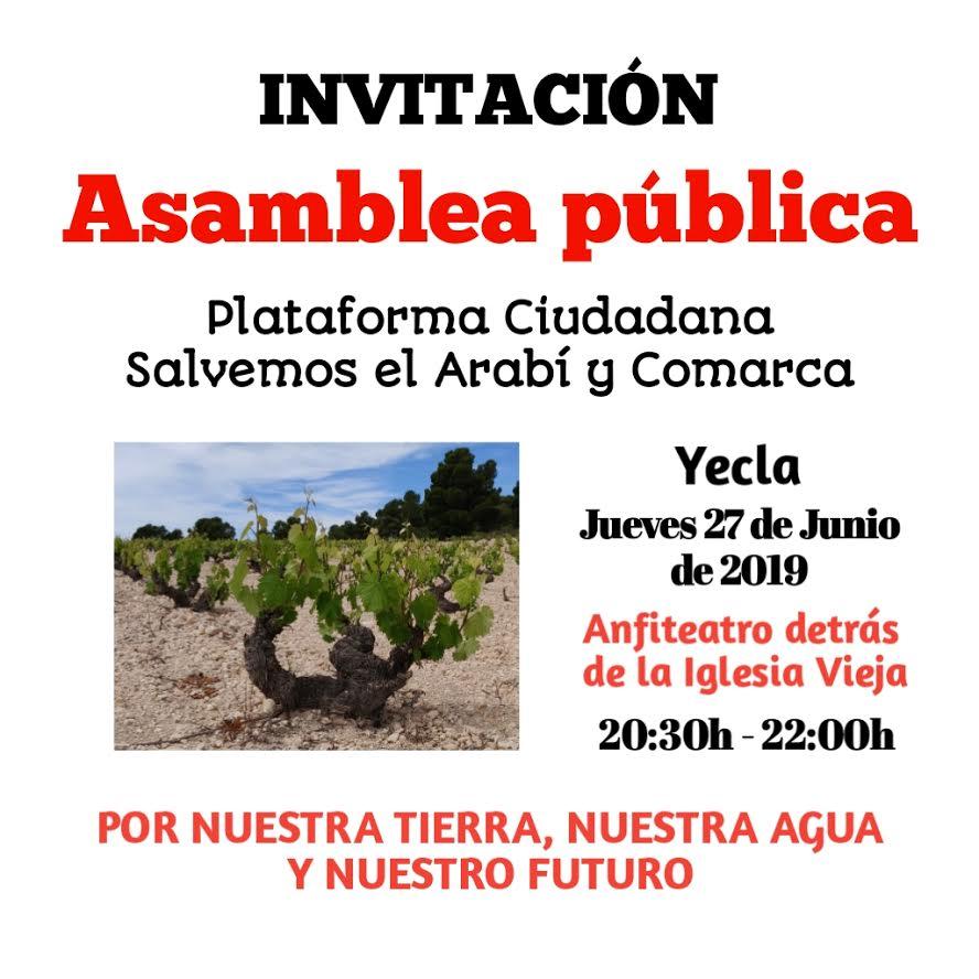 Asamblea pública para tratar el agua en Yecla y Comarca, con Plataforma Ciudadana Salvemos el Arabí y Comarca