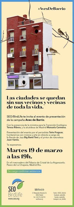 Presentación de la campaña 'Aves de Barrio', con SEO/BirdLife