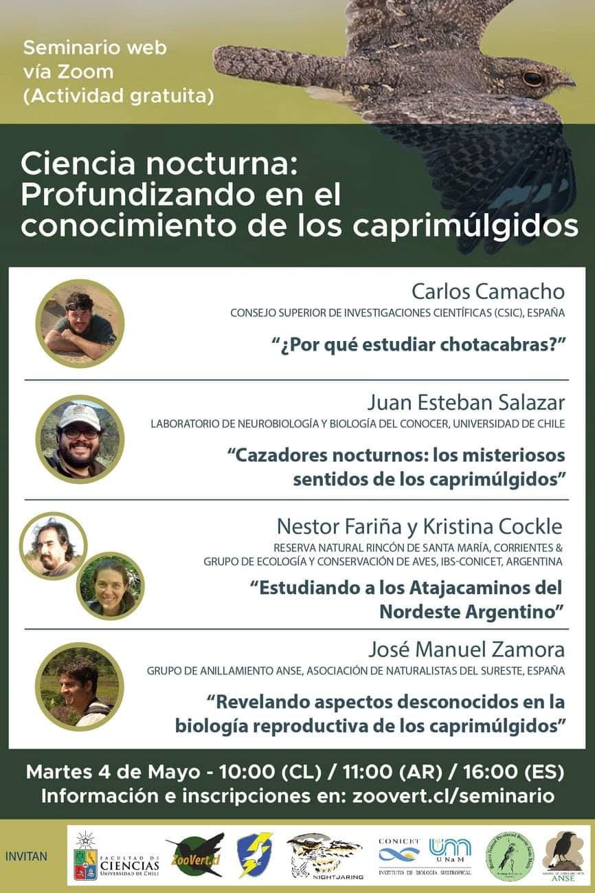 Programa de la charla sobre los chotacabras, con al Universidad de Chile