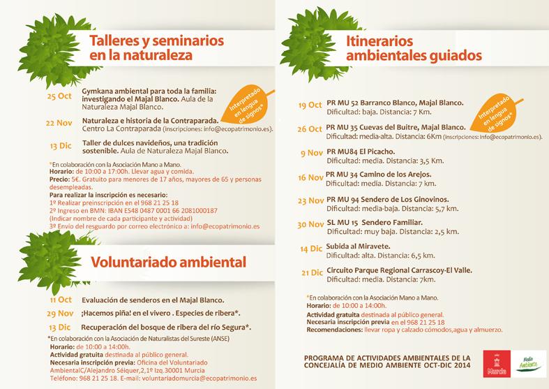 Actividades hasta diciembre con el Ayto. de Murcia