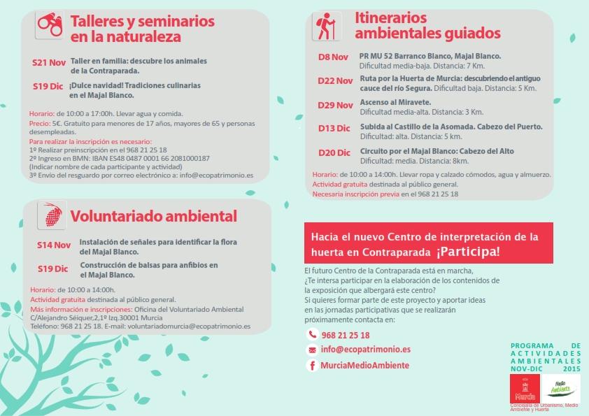 Programa de actividades ambientales de noviembre y diciembre del Ayto. de Murcia