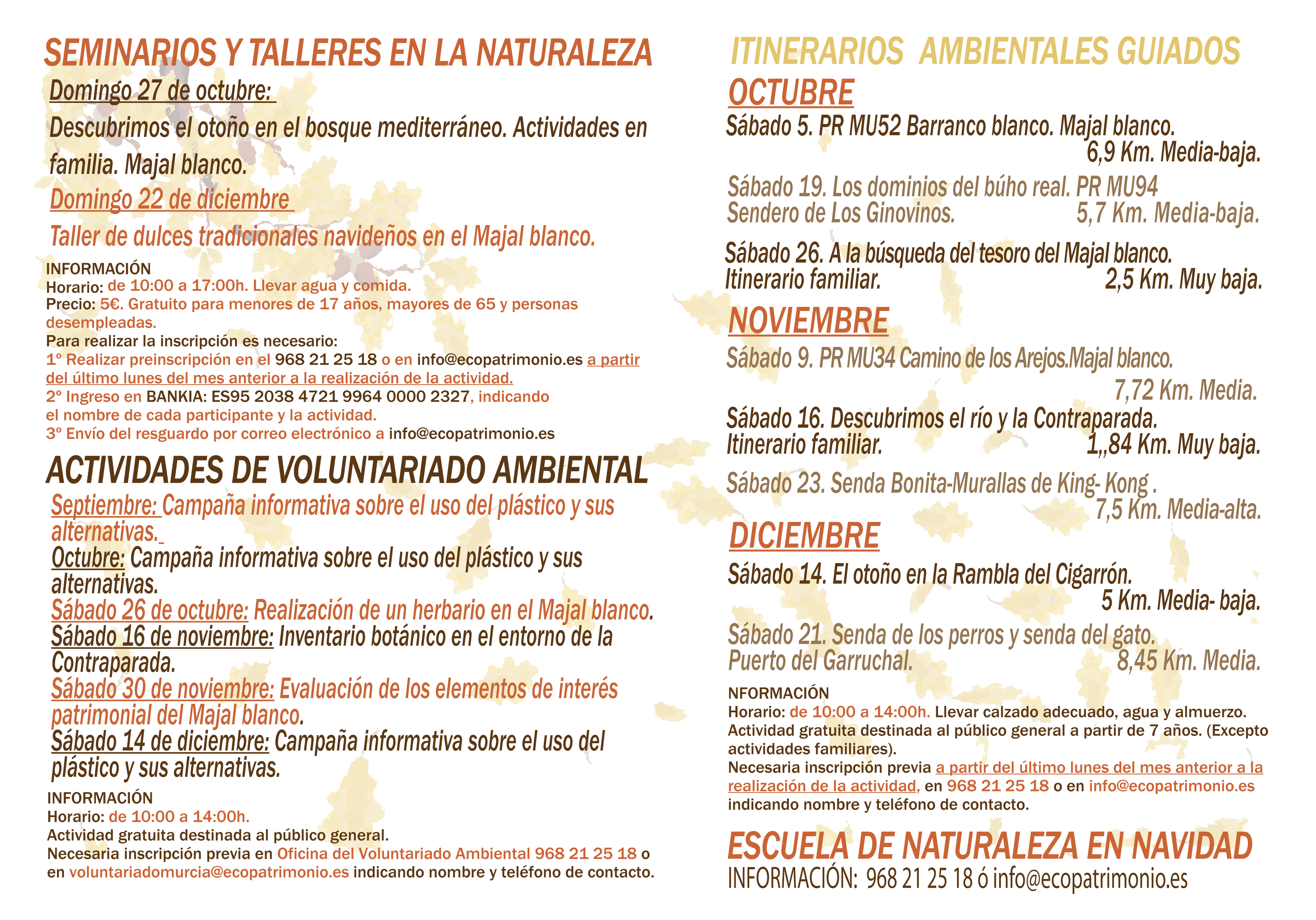 Programa de actividades ambientales, Octubre/Diciembre 2019, Ayto. de Murcia