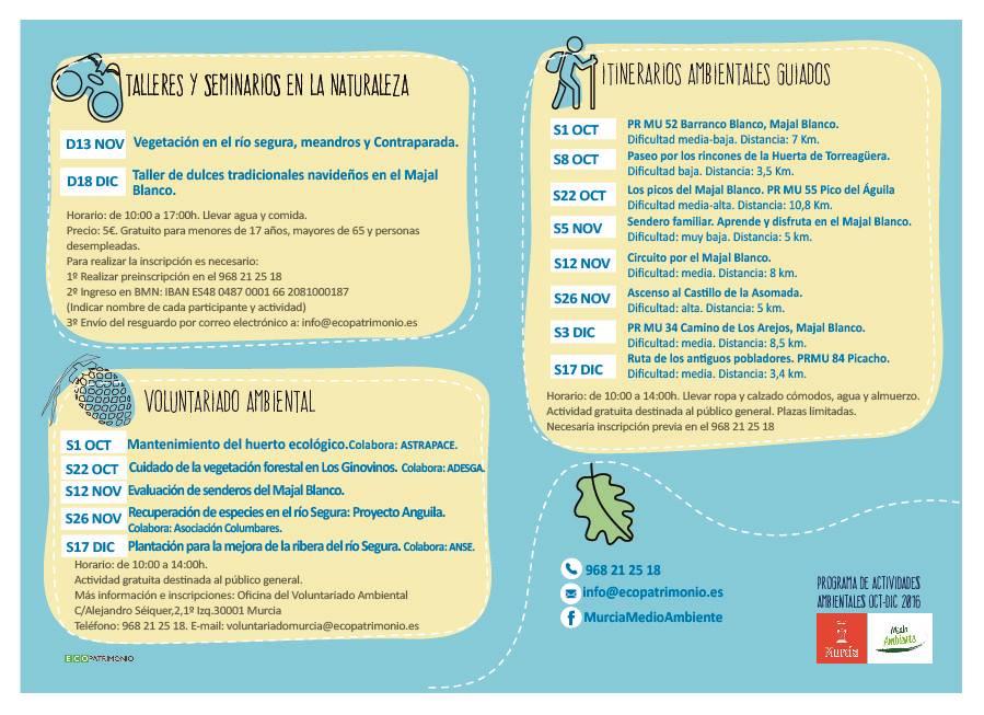 Programa de actividades ambientales oct-dic 2016 Ayto. Murcia.