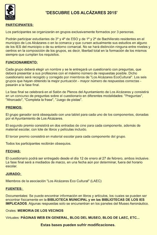 Bases de concurso 'Descubre Los Alcázares y su entorno'
