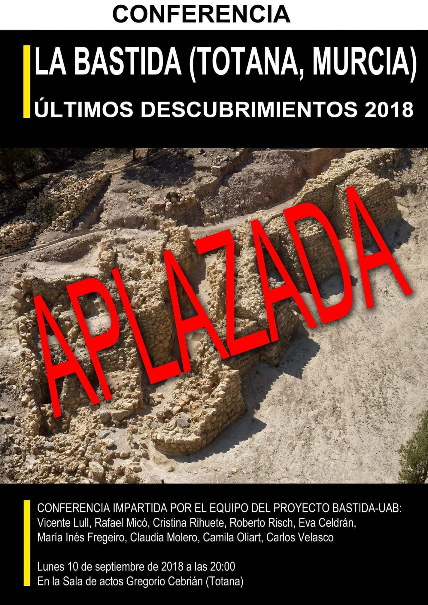 Conferencia sobre los últimos descubrimientos de La Bastida 2018, con el Proyecto Bastida-UAB