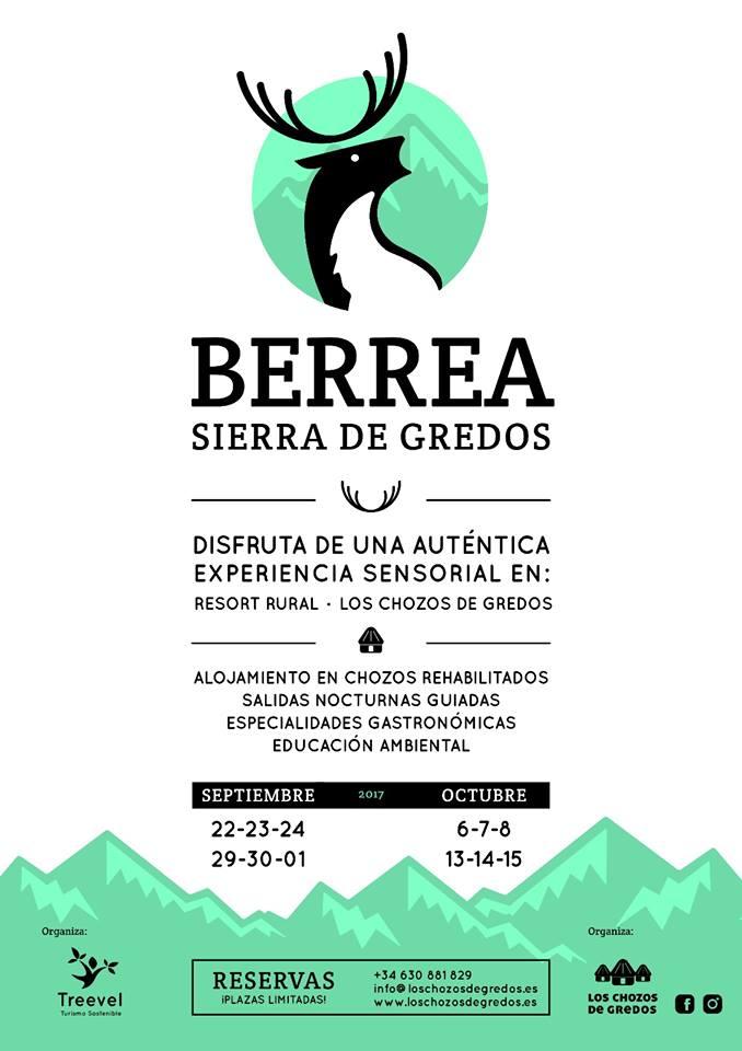 Cartel de la berrea en la Sierra de Gredos, con Los chozos de Gredos