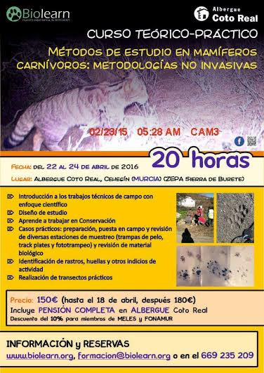 Curso de Métodos de Estudio en Mamíferos Carnívoros con BioLearn.