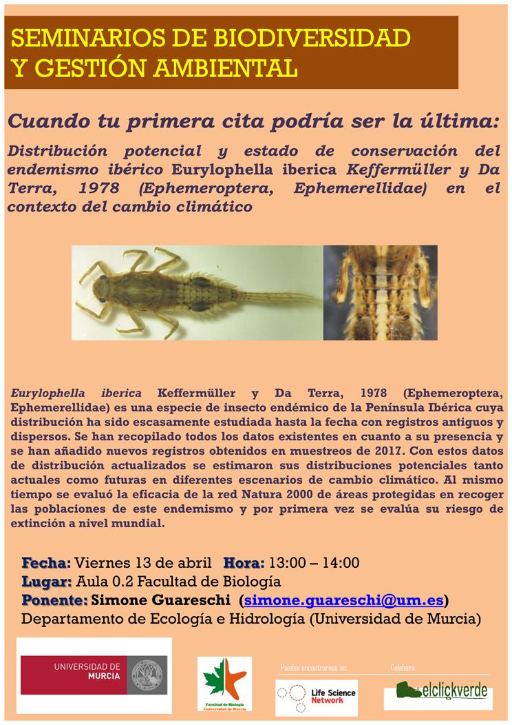 Charla sobre Eurylophella iberica, un insecto endémico de la Península en peligro de extinción, con la UMU