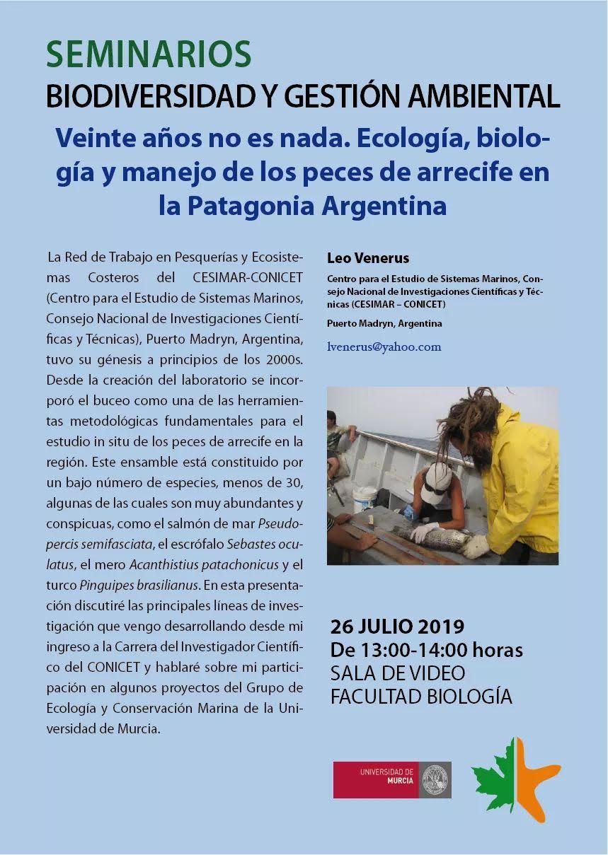 Bioseminario sobre ecología y manejo de peces de arrecife de Argentina