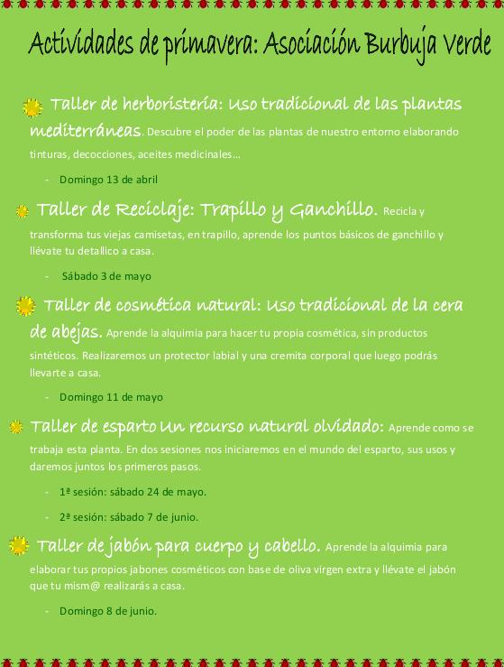 Cartel de varias actividades de Burbuja Verde