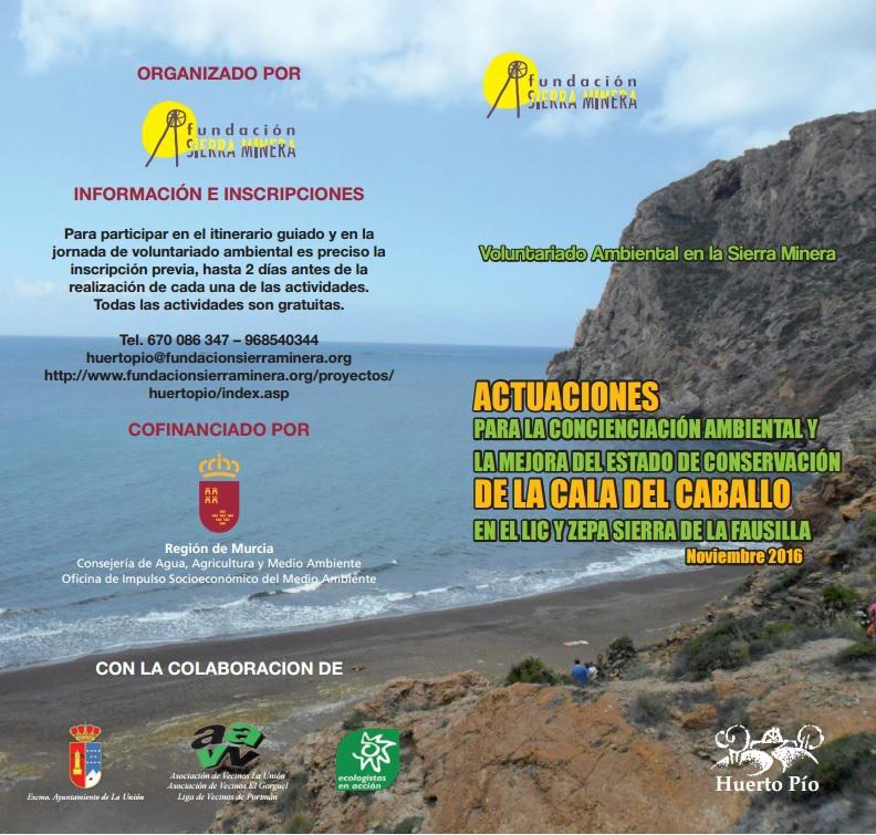 Cartel de la limpieza de la Cala Cola de Caballo, con la Fundación Sierra Minera.