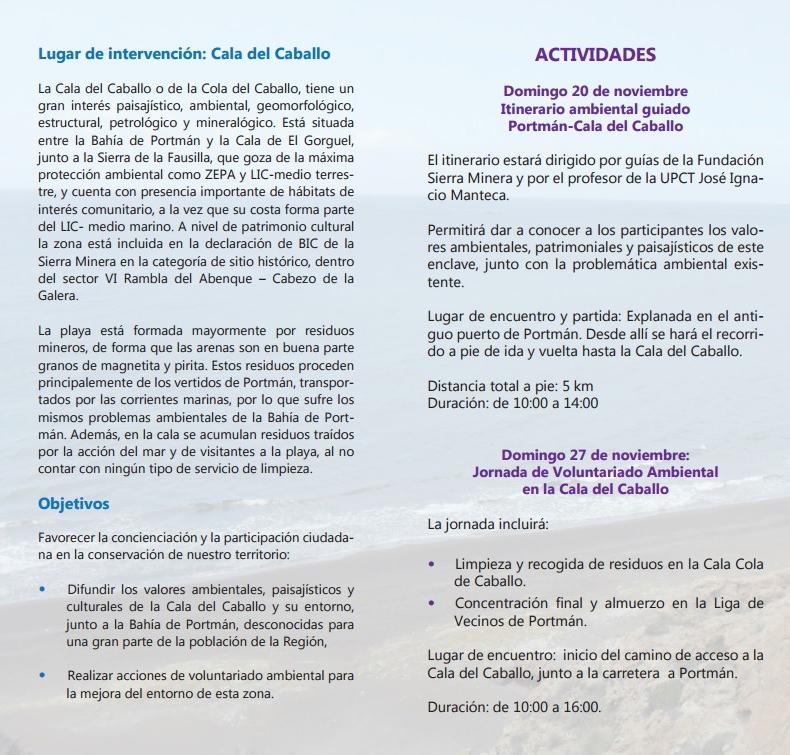 Programa de la limpieza de la Cala Cola de Caballo, con la Fundación Sierra Minera.