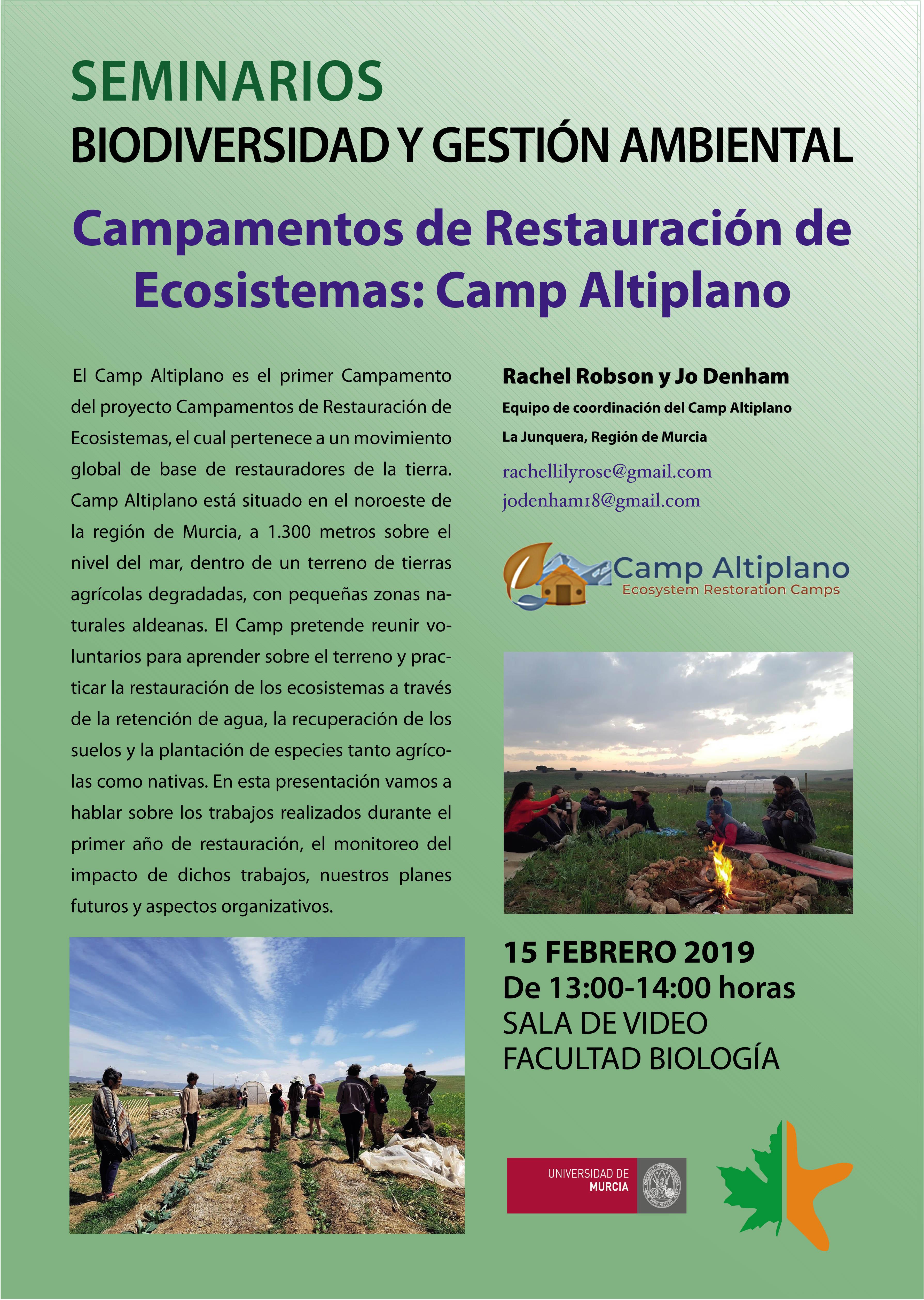 Campamentos de Restauración de Ecosistemas: Camp Altiplano, con los Bioseminarios de la UMU