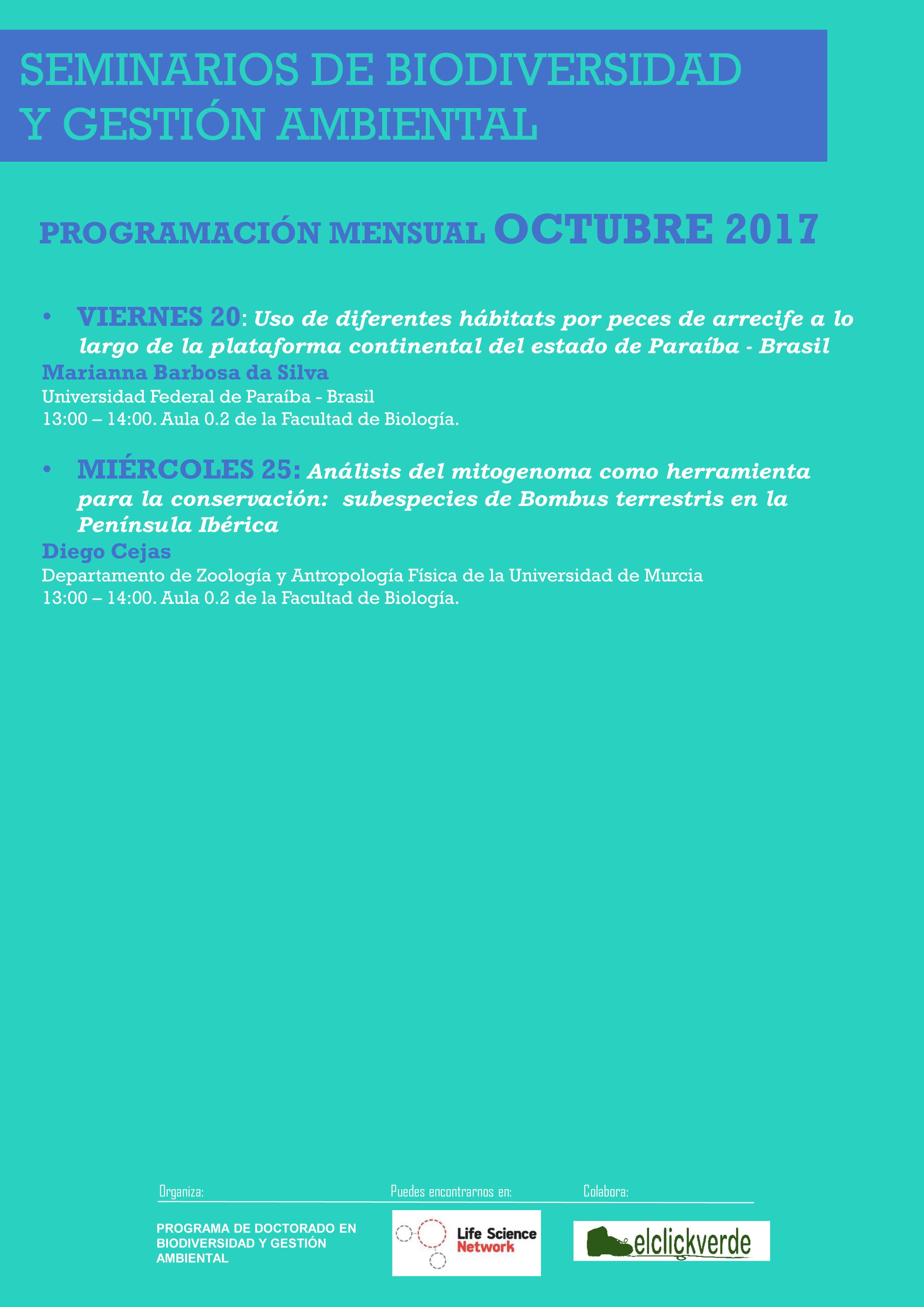 Seminarios del Programa de Doctorado en Biodiversidad y Gestión Ambiental, de la UMU