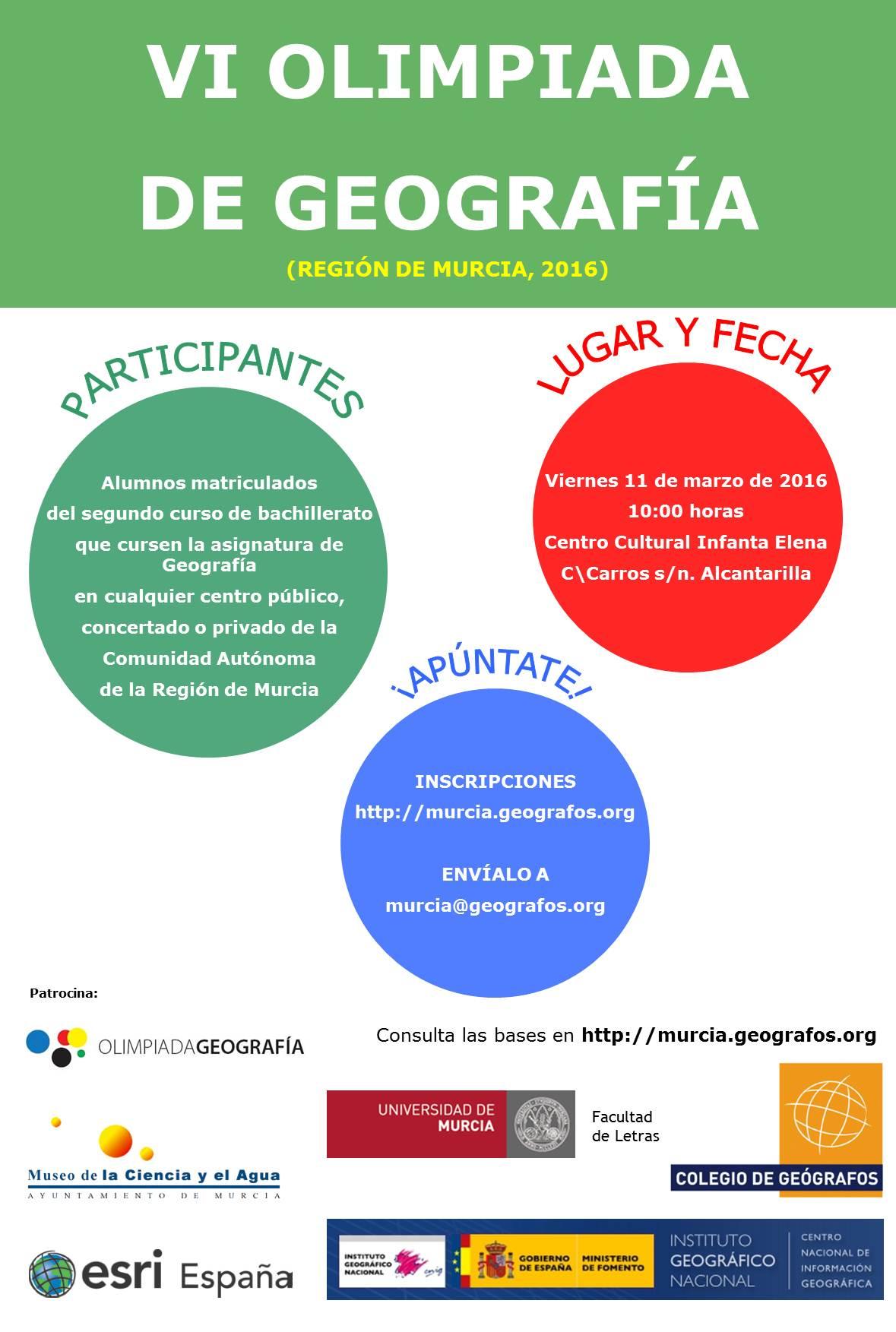 VI Olimpiada de Geografía de la Región de Murcia.