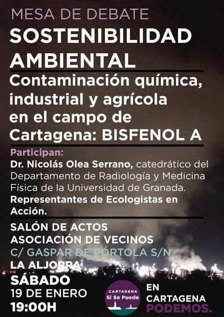 Debate sobre contaminación por bisfenol A, con Cartagena Sí Se Puede
