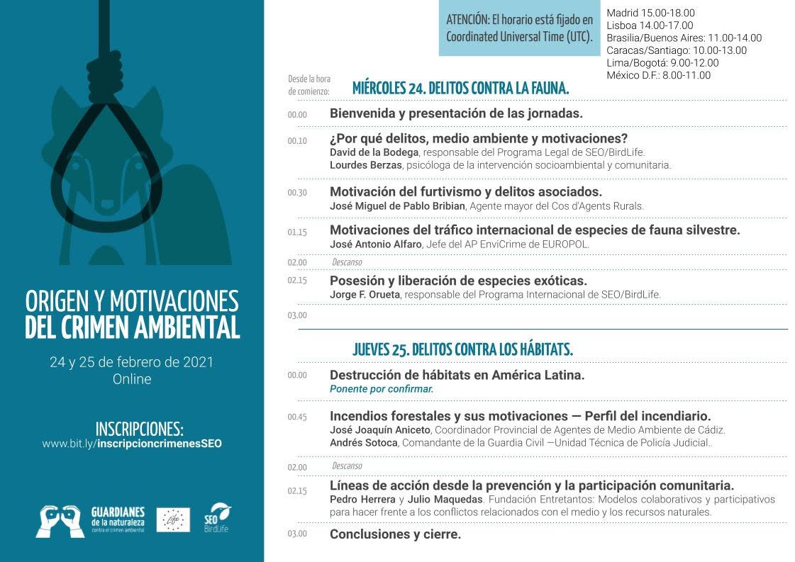 Simposio 'Origen y motivaciones del crimen ambiental', con SEO/BirdLife