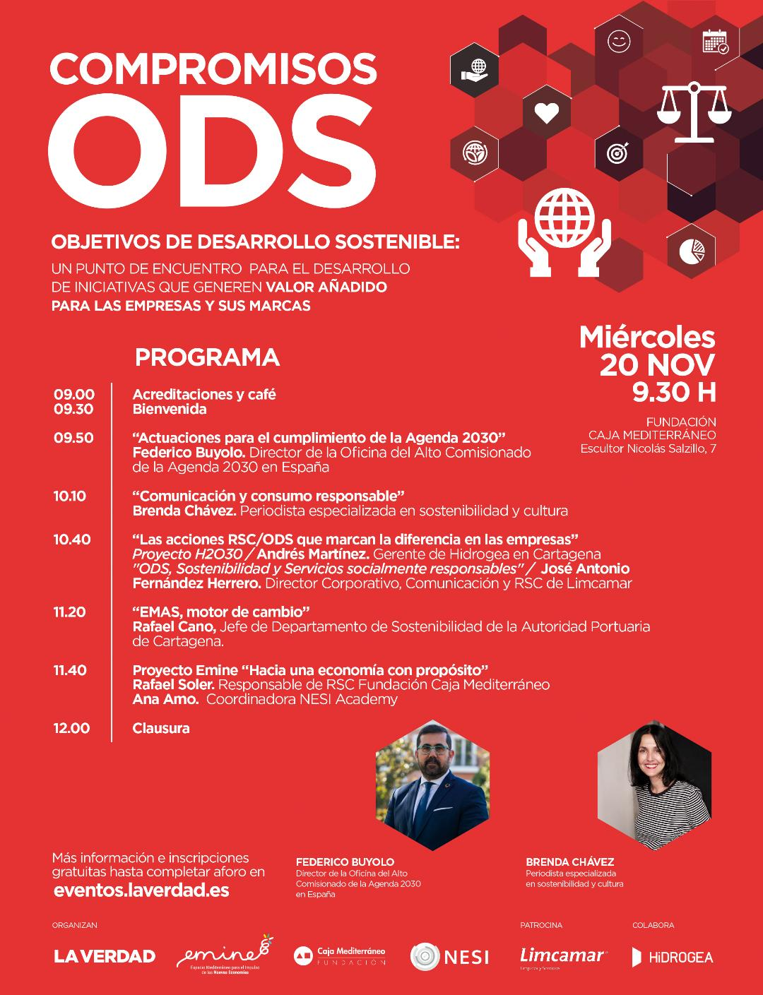 Programa de la charla sobre los Objetivos de Desarrollo Sostenible (ODS), con Emine