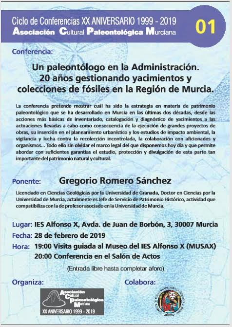 Charla sobre la gestión del patrimonio paleontológico, c on ACPM