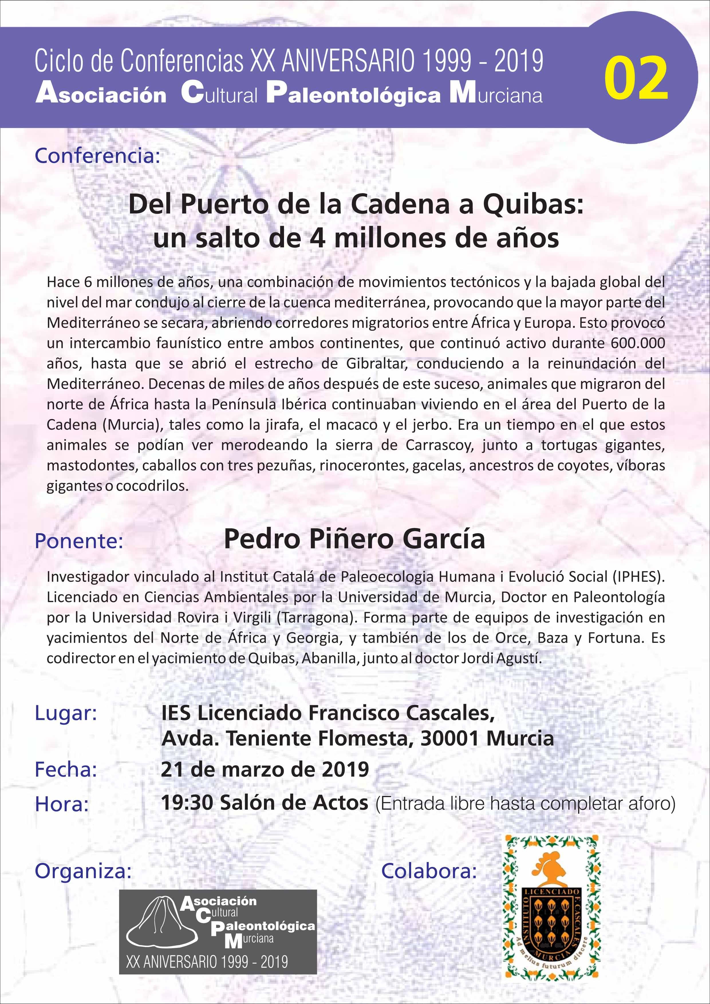 Charla Paleontológica sobre el Puerto de la Cadena, con ACPM
