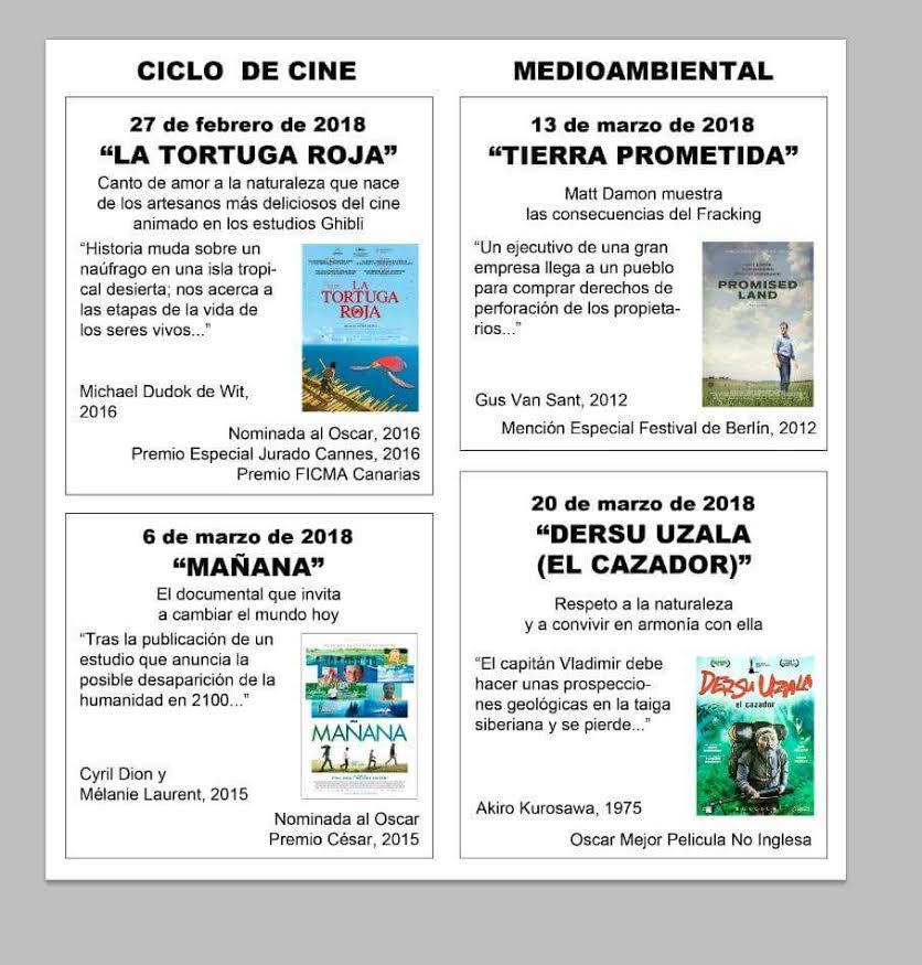 Ciclo de Cine Medioambiental, Ayto. de Caravaca de la Cruz