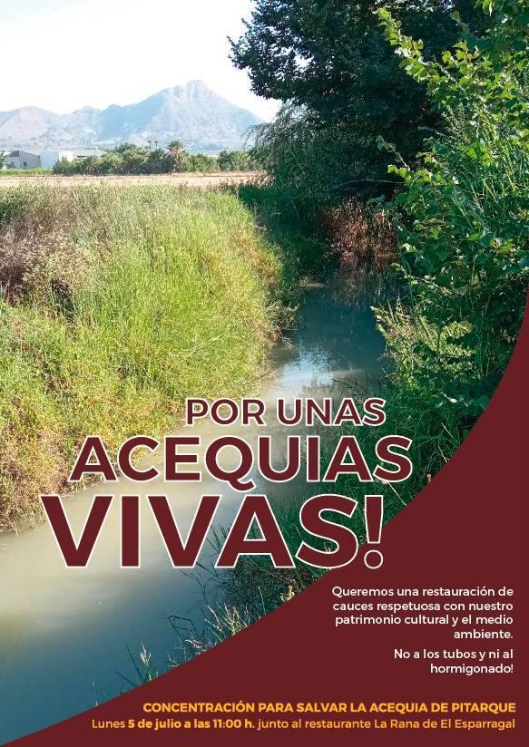 Concentración para salvar la acequia de Pitarque, con Huerta Viva