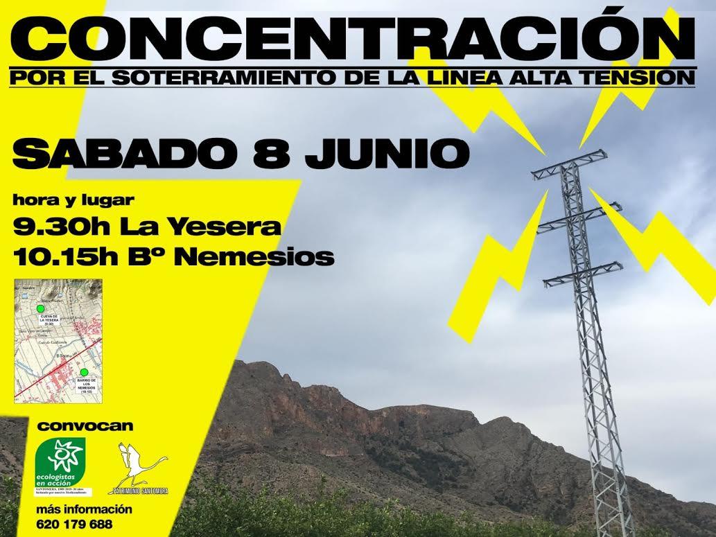 Concentración contra una línea de alta tensión en zona de nidificación del águila perdicera, con EEA y Patrimonio Santomera