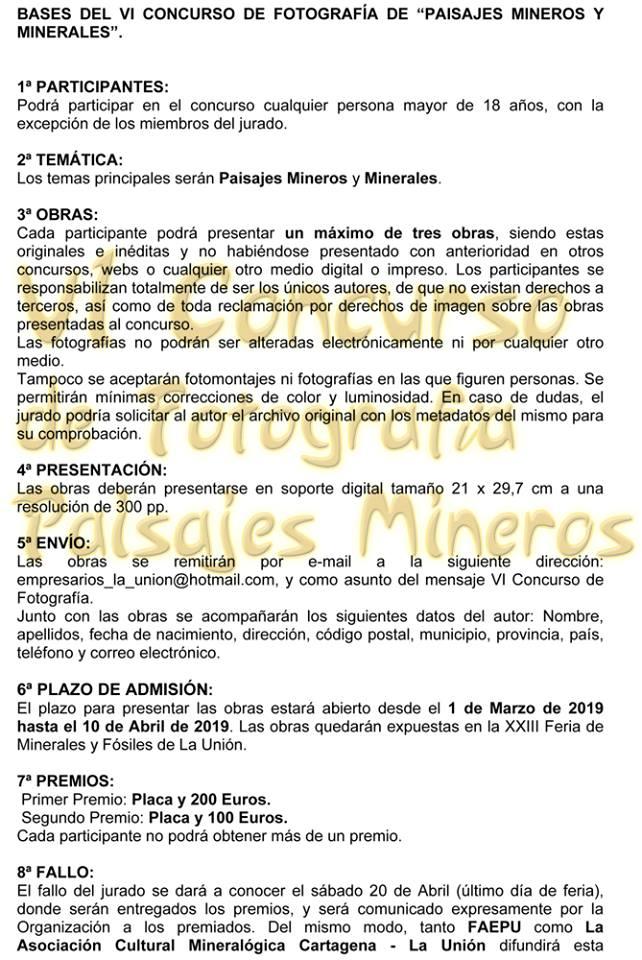 Bases del VI Concurso de fotografía Paisaje Minero de la Sierra Cartagena-La Unión 1, con FAEPU