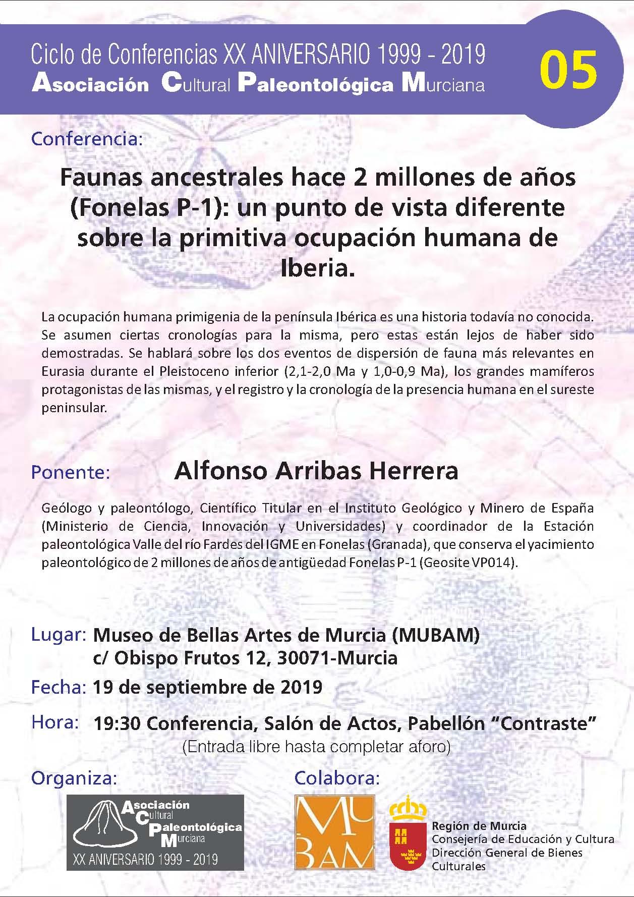 Charla sobre Faunas ancestrales hace 2 millones de años, con la AsociaciónCultural Paleontológica Murciana