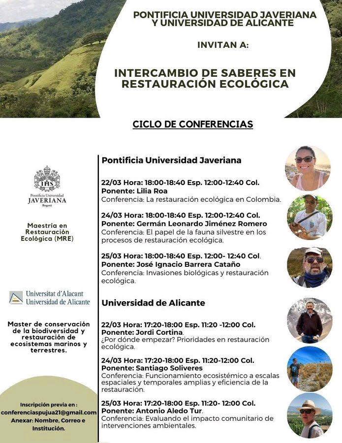Ciclo de conferencias sobre restauración ecológica de la PUJ (Colombia) y la UA