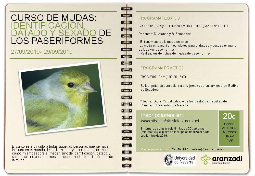 Curso de mudas de aves, con Aranzadi