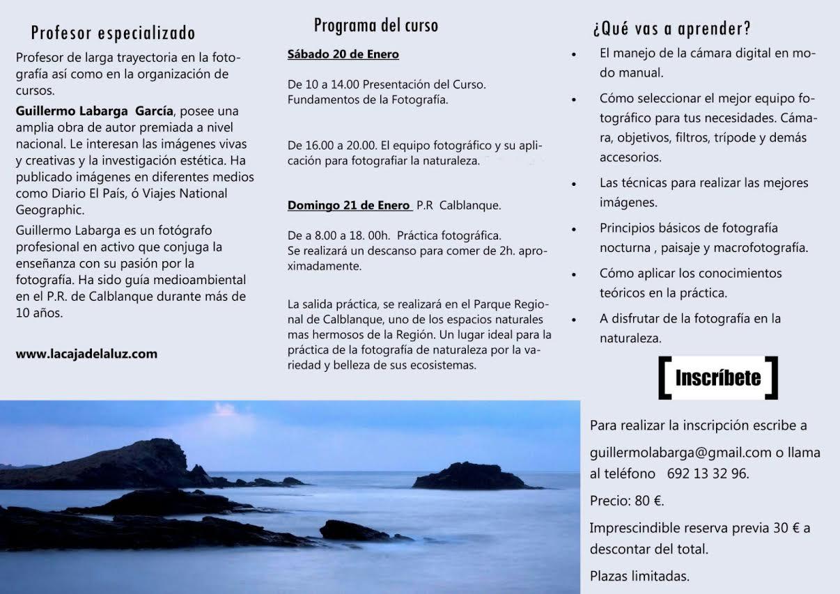 Programa del Curso de fotografía digital en la naturaleza, con La Caja de Luz
