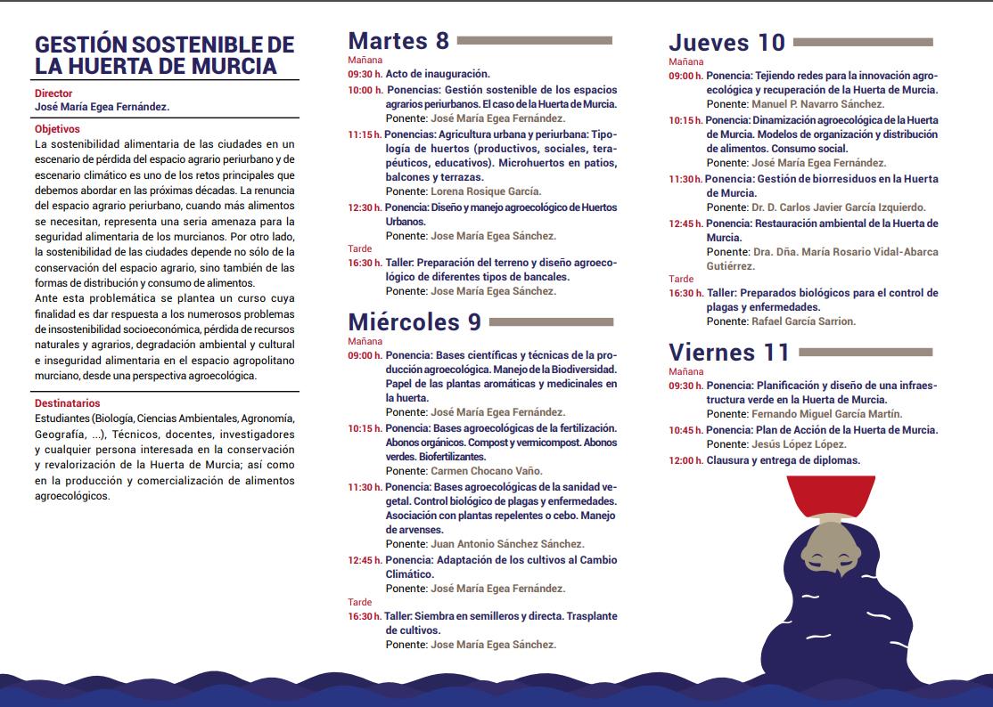 Curso sobre gestión sostenible de la huerta de Murcia, con Unimar