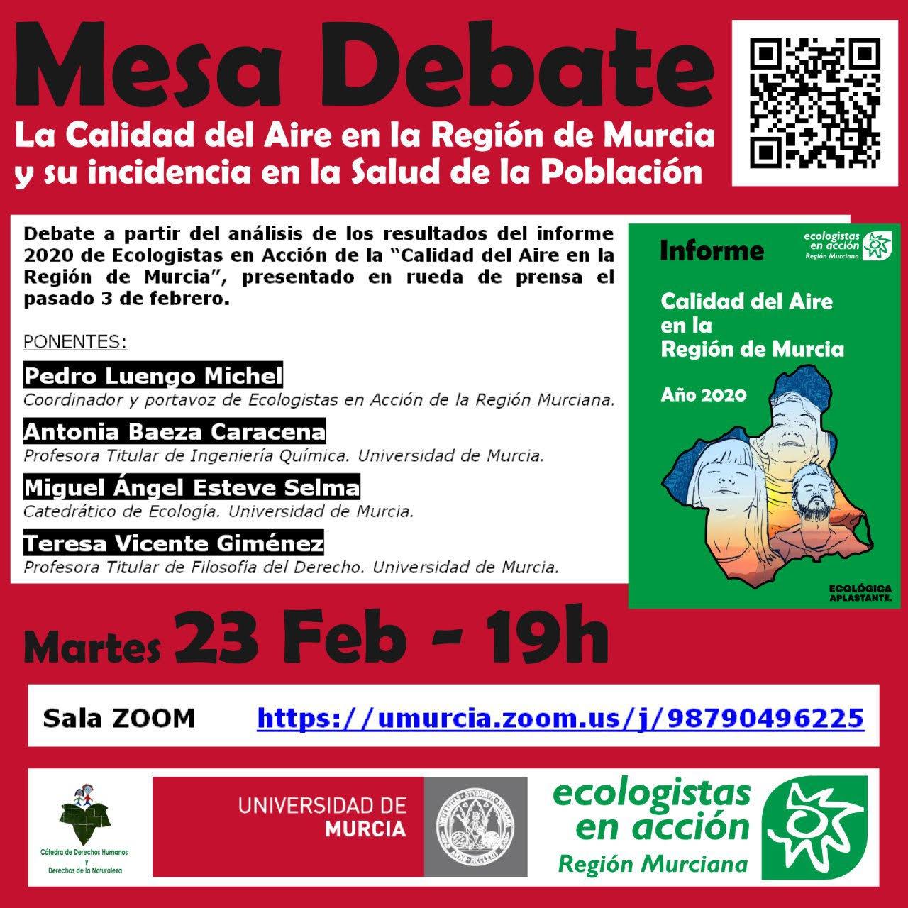 Mesa Debate sobre la calidad del aire en la Región de Murcia, con EEA
