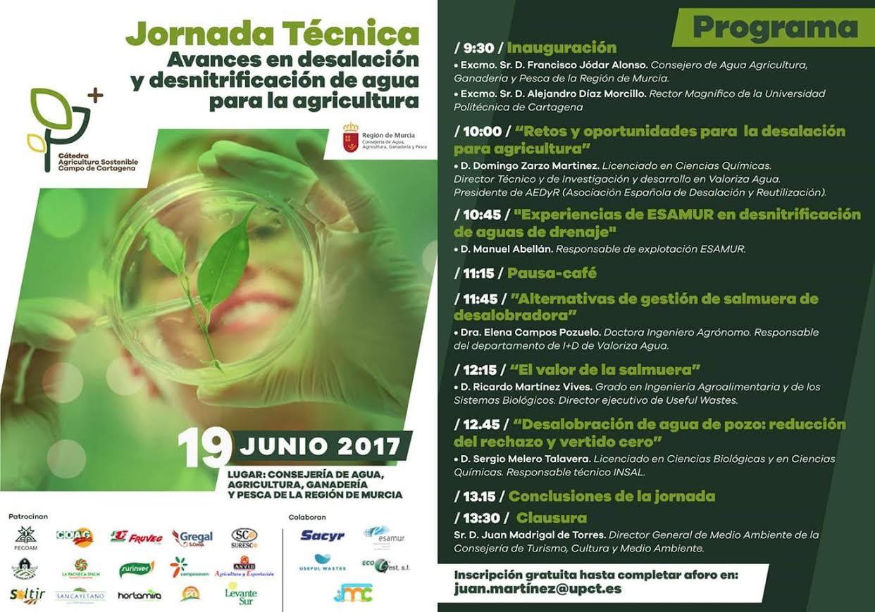 Jornada técnica sobre avances en desalación y desnitrificación de agua para la agricultura., con la CARM