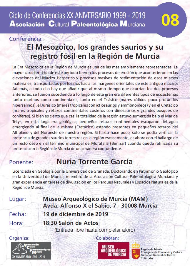 El Mesozoico, los grandes saurios y su registro fósil en la Región de Murcia, con ACPM