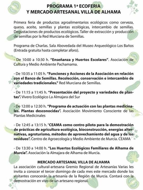 I Ecoferia Villa de Alhama, programa