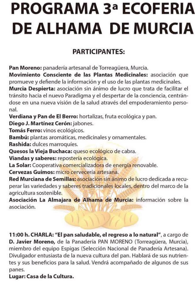 Programa de la Ecoferia de Alhama, con el Ayto. de Alhama de Murcia