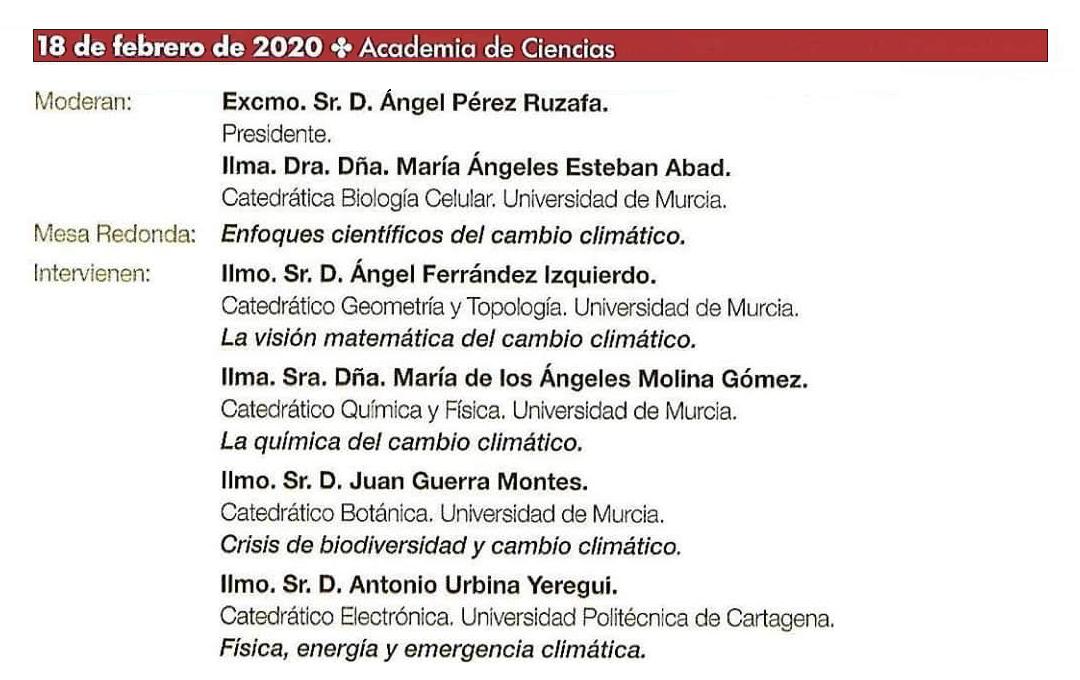 Mesa Redonda: 'Enfoques científicos del cambio climático', con el MAM