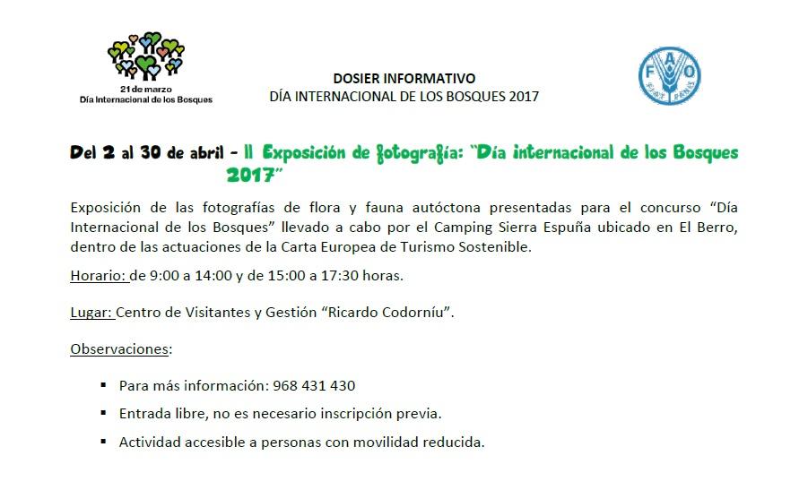 ll Exposición de fotografía: 'Día Internacional de los Bosques 2017', con la CARM