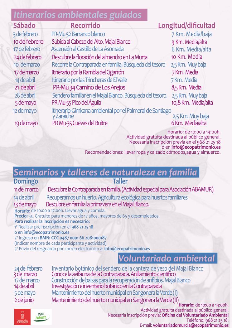Programa de actividades ambientales del Ayto. de Murcia