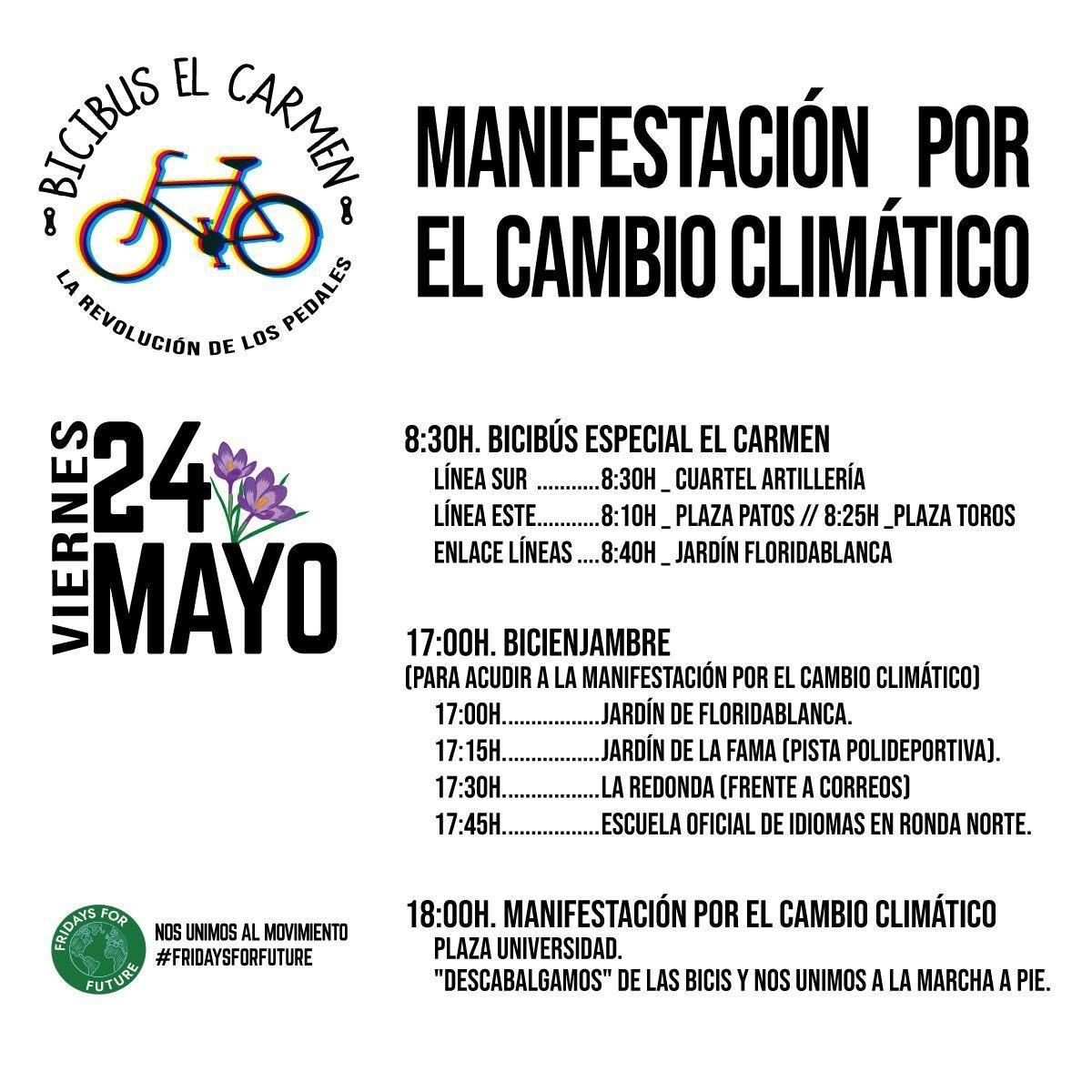 Programa de la manifestación contra el Cambio Climático Fridays for Future