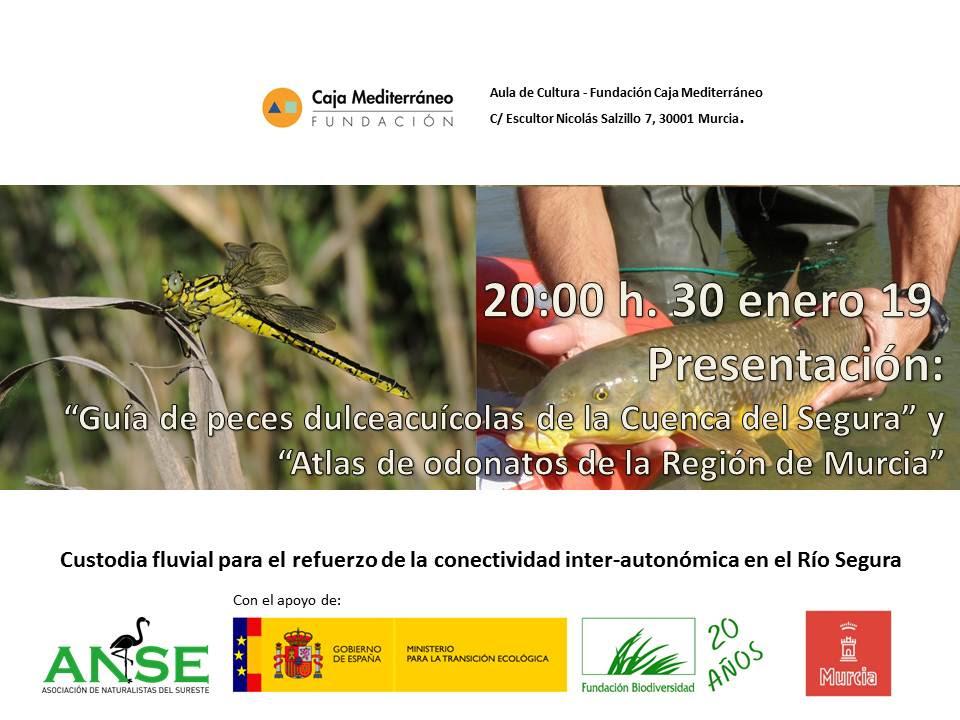 Cartel de la presentación de las guías sobre la biodiversidad del río Segura, con ANSE
