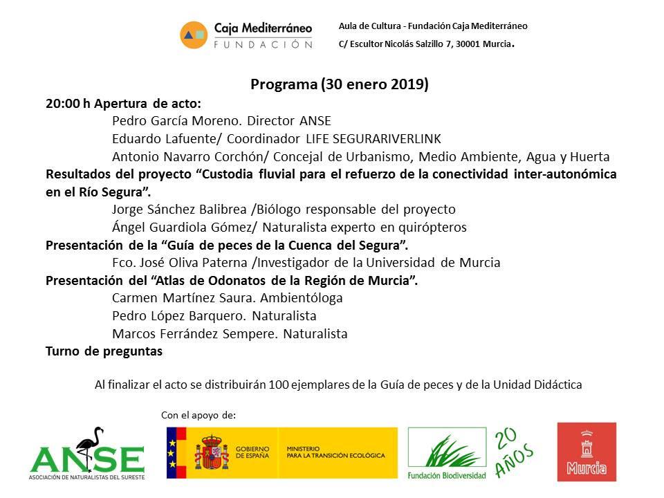 Programa de la presentación de las guías sobre la biodiversidad del río Segura, con ANSE