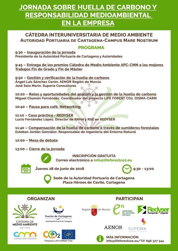 Programa de la Jornada sobre Huella de Carbono para empresas, con la Cátedra de Medio Ambiente APC-CMN