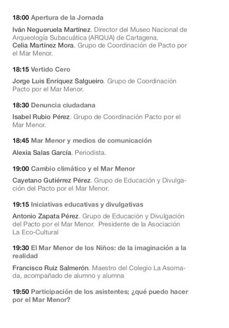 Programa de la I Jornada ciudadana Pacto por el Mar Menor