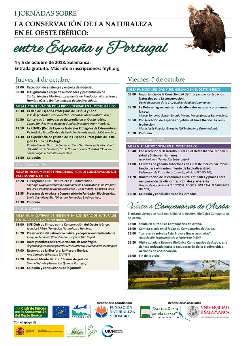 Programa de las I Jornadas sobre la Conservación de la Naturaleza en el Oeste Ibérico, con la Fundación Naturaleza y Hombre