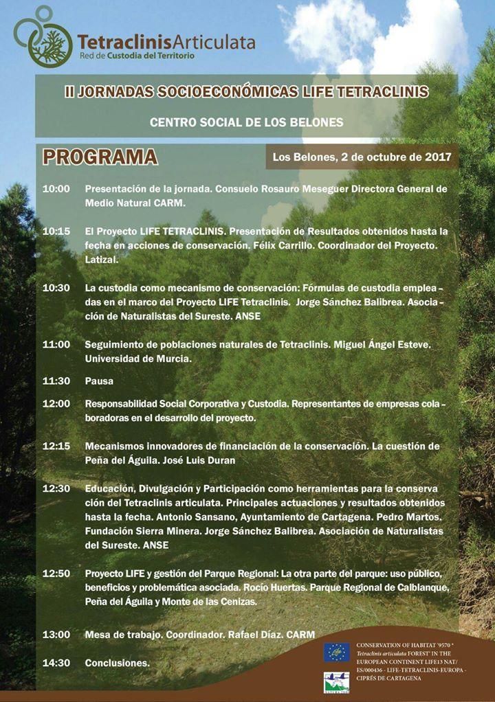 Programa de las II Jornadas Socioeconómicas del Life Tetraclinis