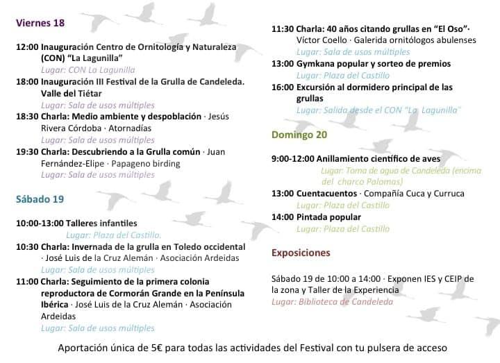 III Festival de la Grulla en Candeleda. Programa