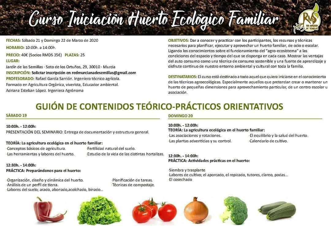 Programa del curso Iniciación al Huerto Ecológico Familiar, con la RMDS